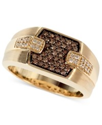 Effy Gento By Men's Brown 1 4 Ct. T.W. And White Diamond 1 8 Ct. T.W. Ring In 14K Gold