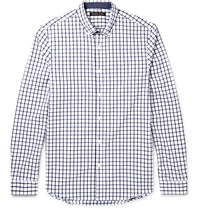 Michael Kors Chase Slim Fit Button Down Collar Checked Cotton Shirt White