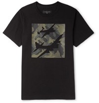 Rag And Bone Camouflage Print Cotton Jersey T Shirt Black