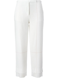 Edun Cropped Seam Print Trousers White