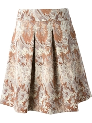 Erika Cavallini Semi Couture 'Bonny' Floral Embroidered Pleated Skirt Nude And Neutrals