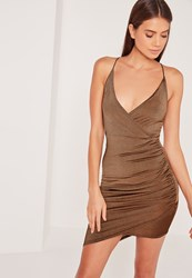 Missguided Strappy Wrap Bodycon Dress Brown Bronze