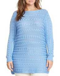 Lauren Ralph Lauren Plus Cable Knit Cotton Sweater Blue