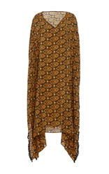 Jaline Kattia V Neck Long Caftan Gold