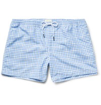 Club Monaco Arlen Slim Fit Short Length Gingham Shell Swim Shorts Blue