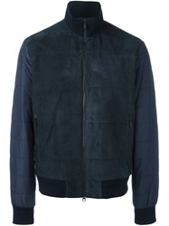 Z Zegna Front Panel Padded Jacket Blue