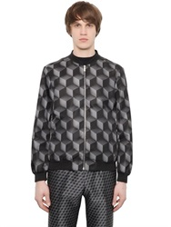 Christopher Kane 3D Cubes Printed Canvas Bomber Jacket