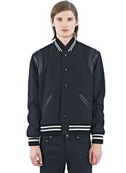 Saint Laurent Leather Band Teddy Bomber Jacket Black
