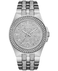 Bulova Men's Pave Crystal Stainless Steel Bracelet Watch 42Mm 96B235 No Color