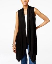 Inc International Concepts Draped Open Front Vest Only At Macy's Deep Black