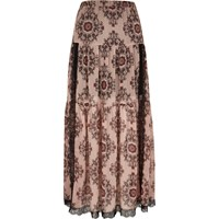 River Island Womens Pink Paisley Print Lace Panel Maxi Skirt
