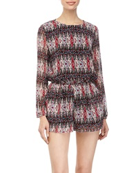 Lucca Couture Printed Long Sleeve Short Jumpsuit Black Wine