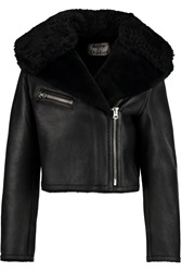 Acne Studios Modest Shearling Biker Jacket Black
