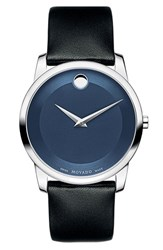 Men's Movado 'Museum' Leather Strap Watch 40Mm
