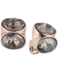 Anne Klein Rose Gold Tone Crystal Clip On Button Earrings