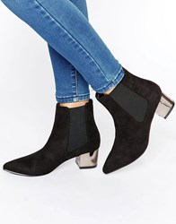 Truffle Collection Point Toe Mid Heel Boots Black Mf Silver Heel