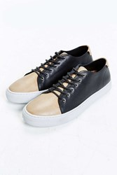 Urban Outfitters Uo Two Tone Leather Cupsole Sneaker Black