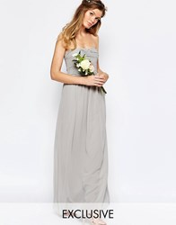 Vila Ruched Bodice Bandeau Maxi Dress Gray