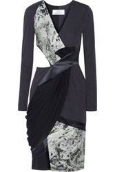Prabal Gurung Paneled Jacquard Crepe Satin And Chiffon Dress Blue