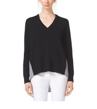 Michael Kors Contrast Cashmere V Neck Sweater Black