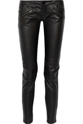 Maje Zip Embellished Leather Skinny Pants Black