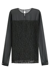 Jason Wu Silk Chiffon Blouse With Lace Green