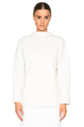 Sally Lapointe Felted Angora Wool Sweater In White