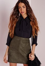 Missguided Faux Suede Mini Skirt Khaki