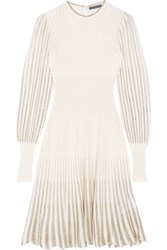 Alexander Mcqueen Metallic Crochet Knit Dress Cream