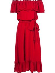 Michael Kors Off Shoulder Peasant Dress Red