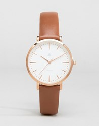Asos Clean Dial Brown Leather And Rose Gold Watch Dark Brown