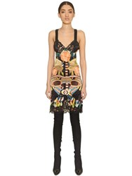 Givenchy Geometric Print Silk Satin And Lace Dress