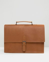 Asos Leather Satchel In Tan With Buckle Strap Tan