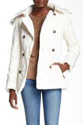Cole Haan Faux Fur Trimmed Hooded Down Peacoat White