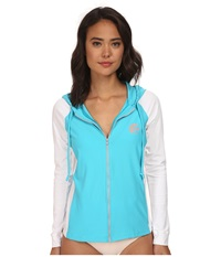 O'neill Tech Long Sleeve Zip Hoodie Turquoise White Women's Sweatshirt Blue
