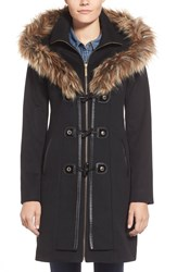 Betsey Johnson Faux Fur Trim Toggle Closure Duffle Coat Black