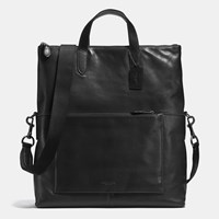 Coach Manhattan Foldover Tote In Sport Calf Leather Black Antique Nickel Black