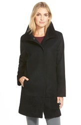 Kristen Blake Mixed Media Wool Blend A Line Coat Regular And Petite Black