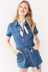 Minkpink Under Construction Zip Front Denim Romper Indigo
