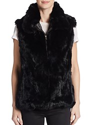 Saks Fifth Avenue Rabbit Fur Vest Black