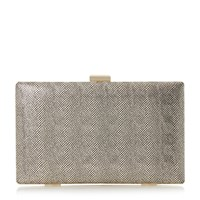 Head Over Heels Benata Metallic Box Clutch Bag Gold