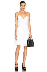 Carven Scalloped Peplum Dress In White