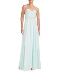Xscape Evenings Embellished Strapless Gown Aqua