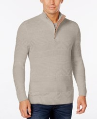Tasso Elba Men's Quarter Zip Mixed Stitch Sweater Only At Macy's Ash Tan