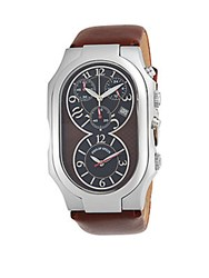 Philip Stein Teslar Signature Stainless Steel Chronograph Leather Strap Watch Chocolate