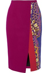Peter Pilotto Ria Printed Stretch Cady Pencil Skirt Purple