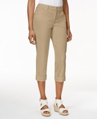 Styleandco. Style And Co. Petite Jeans Tummy Control Cuffed Capri Colored Wash French Birch