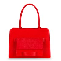 Esin Akan City Tote Poppy And City Clutch Poppy Croc Print Red
