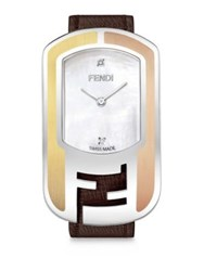 Fendi Chameleon Diamond Mother Of Pearl Stainless Steel And Leather Strap Watch Brown Brown Matte