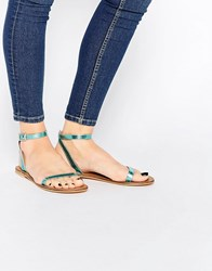 Asos Finlay Leather Flat Sandals Blue Metallic
